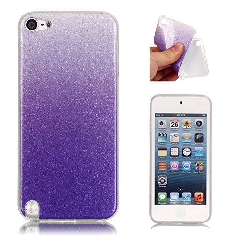 (iPod Touch 6 Case, iPod Touch 5 Case Aeeque Ultra Slim Fit Glitter Bling Gradual Cover Bumper Soft TPU Silicone Rubber Shock Absorbing Protective Case for iPod Touch 5th/6th Generation - Purple)