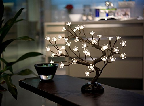 Lightshare16Inch 36LED Cherry Blossom Bonsai Light, Warm White Light, Battery Powered and Plug-in DC Adapter (Included), Built-in timer, Décor for Home/Festival/Party/Christmas/Night Light by Lightshare