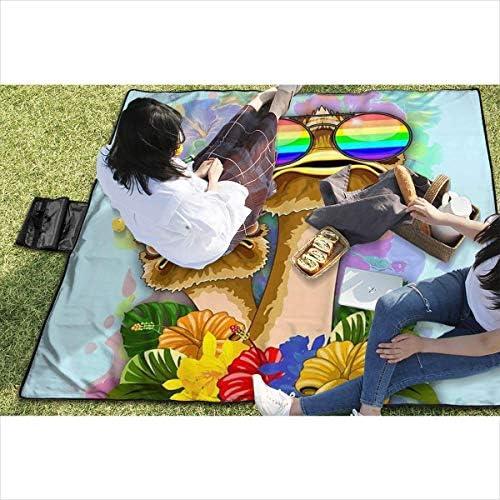 Singledog Coperta da Picnic Struzzo Hawaii Fashion Funny Dudes Stuoia da Spiaggia Portatile Impermeabile da Esterno per 145X150 cm