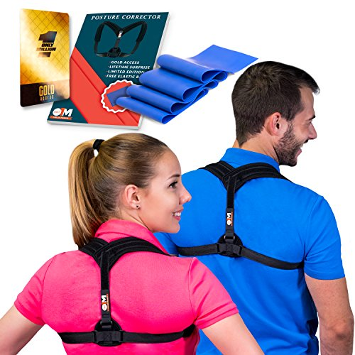Back Posture Corrector and Resistance Band for Spinal Alignment and Upper Back Pain – Adjustable Shoulder Posture Brace for Back Pain and Neck Pain Relief by Only1MILLION