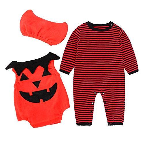 Cute Little Pumpkin - Halloween Infant Jack O' Lantern Baby Bodysuit Outfits Costume Set (6M, Red) (Matching Halloween Costumes For Parents And Baby)