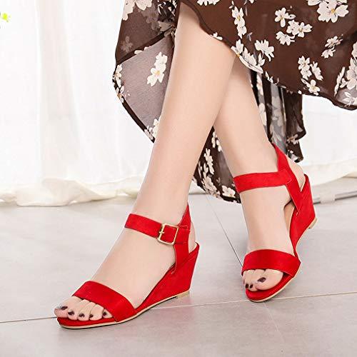À Talons Mode La Pour Compensés Femmes Rouge Chaussures Sunnywill AxqT57wZw