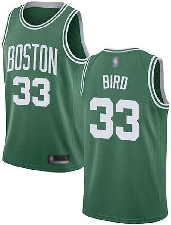 Maglietta Ricamata Uniforme da Basket per Uomo Abbigliamento Sportivo Bianco Verde BCGG/® # 33 Larry Joe Bird Maglia per Tifosi Celtics Versione Classica del Giocatore Canotta
