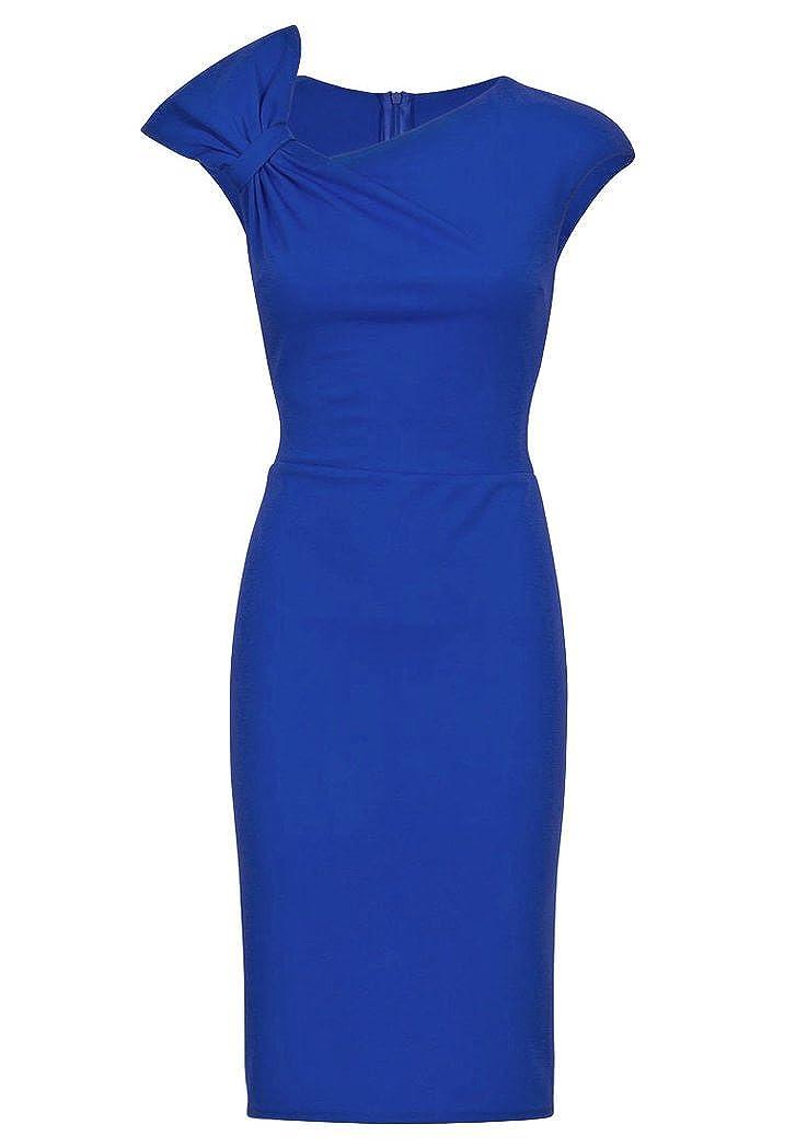 VictoriaV Damen Etuikleid Cocktailkleid Stretchkleid Schulterdrapierung Blau