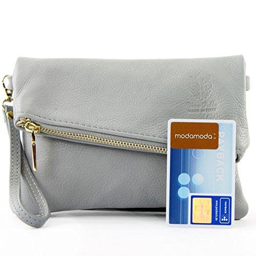 dames sac en sac ital de modamoda Sac en T95 petites d'embrayage de cuir poignet cuir d'épaule Grau de w1BCx