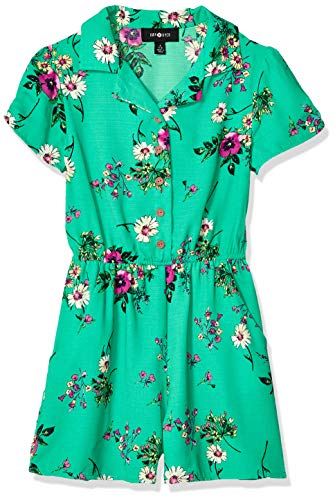 Amy Byer Girls' Big Short Sleeve Woven Romper, Green Pansy Garden, M
