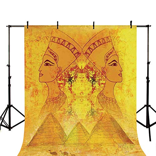 Egyptian Stylish Backdrop,Antique Old Paper with Egyptian Queen Portraits Pyramids Camels Image Print for Photography,78.7