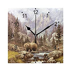 LONK Grizzly Bear in The Rockies Wall Clock Silent Non Ticking Acrylic 8 Inch Square Wall Clock for Home Bedroom Office Kitchen