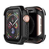 UMTELE Rugged Case Compatible for Apple Watch Series 5 4 44mm - Shock Proof Protective Bumper iWatch Case Hard Screen Protector Cover Compatible for Apple Watch Series 5 Series 4(44mm, Black)