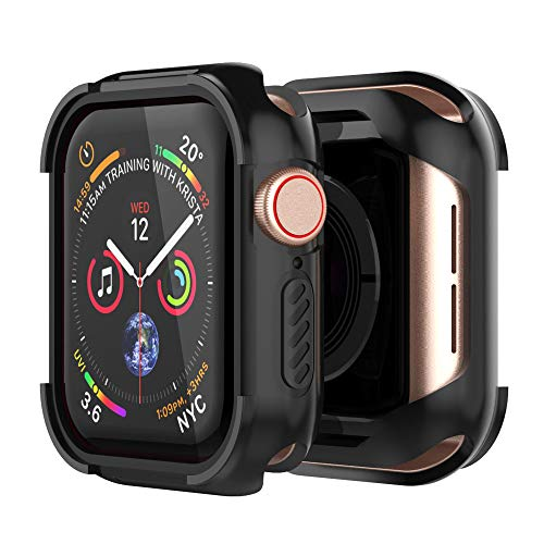 UMTELE Compatible with Apple Watch 4 Case Protector 40mm 2018, Shock Proof Protective Rugged Case Scratch Resistant Bumper Cover Replacement for Apple Watch Series 4, 40mm - Black