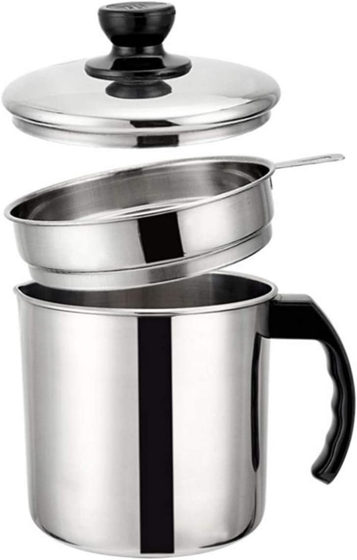 1.3L Stainless Steel Bacon Grease Keeper Container with Strainer, Oil Oil Keeper/strainer