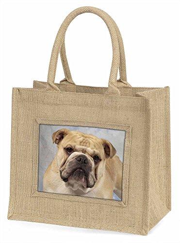 Advanta ad-bu5bln Bulldog Große Einkaufstasche/Weihnachten Geschenk, Jute, beige/natur, 42x 34,5x 2cm