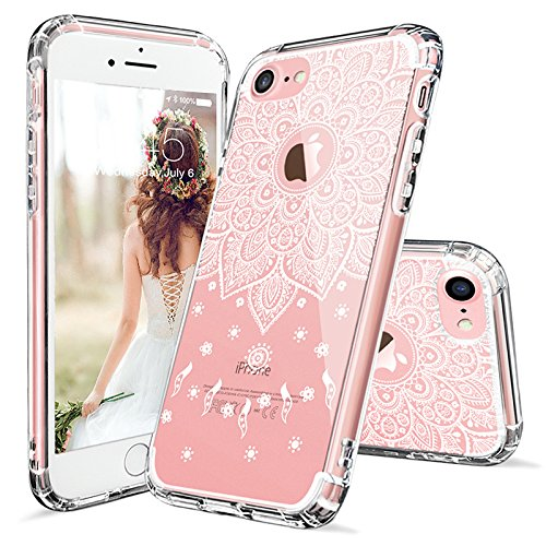 (iPhone 7 Case, iPhone 7 Slim Case, MOSNOVO White Peace Mandala Floral Lace Clear Design Printed Plastic with TPU Bumper Protective Case Cover for Apple iPhone 7 (2016))