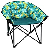 KingCamp Moon Saucer Leisure Heavy Duty Steel Camping Chair Padded Seat (Grey with Cup Holder and Cooler Bag) (Green)