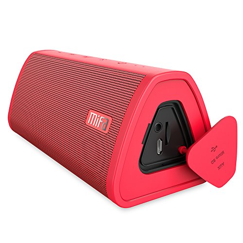 Portable Wireless Bluetooth Speaker, MIFA A10 Dual-Driver Speaker, 10W Stereo Sound & Enhanced Bass, 16-Hour Playtime, IP45 Dustproof Water-Resistant, Support TWS, Micro SD Card, Built-in Mic, Red