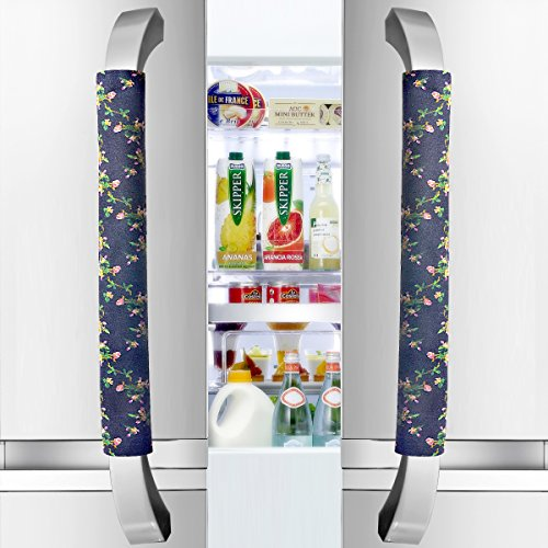 Vezfinel Refrigerator Door Handle Covers,Fridge Oven Dishwasher Protectoer,Catch FingerprintsSmudges Kitchen Appliances Handmade Decoration (Black Fl…