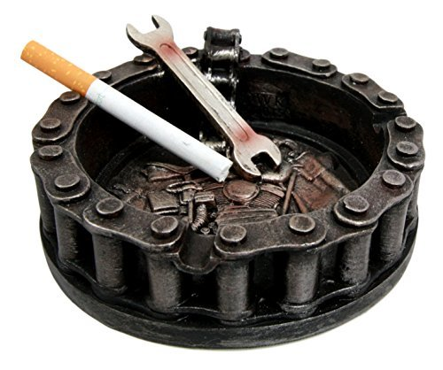 Atlantic Collectibles Mechanic Biker Motorcycle Round Belt Chain With Wrench Cigaretter Ashtray Resin - Figurine Biker Collection