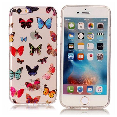 iPhone 6 / 6S Plus Hülle, Modisch Farbe Schmetterling Transparent TPU Silikon Schutz Handy Hülle Handytasche HandyHülle Etui Schale Schutzhülle Case Cover für Apple iPhone 6 / 6S Plus
