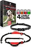 Image of Hands Free Dog Leash - For One/Two Medium to Large Dogs (up to 150lbs) - Walking/Hiking/Dog Training - Heavy Duty Extra Long Bungee Dog Leash - Reflective Waist Leashes for Dogs (One Dog, Black & Red)