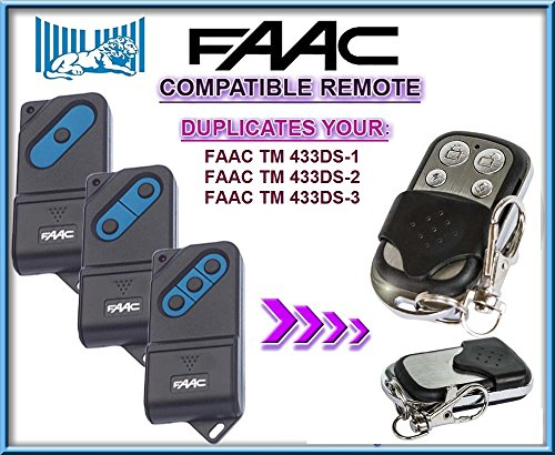 FAAC TM 433DS-1 / FAAC TM 433DS-2 / FAAC TM 433DS-3 compatible CLONE remote control replacement transmitter, 433,92Mhz fixed code clone!!!
