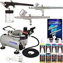 Professional Hobby 3 Airbrush System Kit with G22, G25, E91 Master Airbrushes & TC-20 Air Compressor, 6 Primary Colors US Art Supply Paint Set, Free Guide Booklet & Cleaning Brush