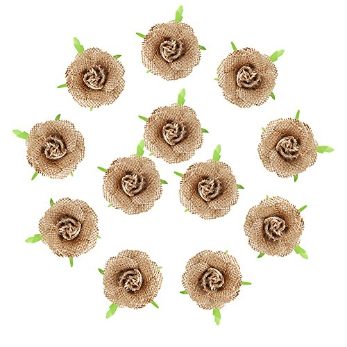 DECORA 12 Pieces Handmade Hessian Burlap Solid Flowers with Plastic Leaf for Wedding Decoration Craft Making and DIY Stuff Making]()