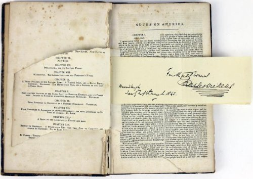 Charles Dickens American Notes Signed Book Very Rare Autograph PSA/DNA #T02691 -