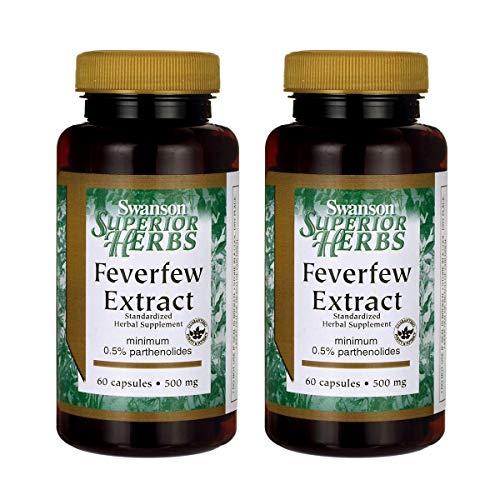 Swanson Feverfew Extract 500 Milligrams 60 Capsules (2 Pack)