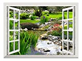 wall26 Removable Wall Sticker/Wall Mural - Clear Spring and Green Grass Out of The Open Window Creative Wall Decor - 36''x48''