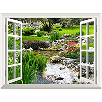 wall26 Removable Wall Sticker/Wall Mural - Clear Spring and Green Grass Out of The Open Window Creative Wall Decor - 36