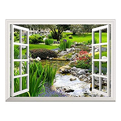 Removable Wall Sticker/Wall Mural - Clear Spring and Green Grass Out of The Open Window Creative Wall Decor - 36