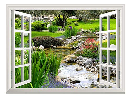 wall26 Removable Wall Sticker/Wall Mural - Clear Spring and Green Grass Out of The Open Window Creative Wall Decor - 36''x48'' by wall26 (Image #6)
