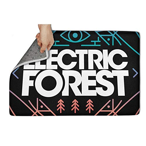(Indoor Outdoor Entrance Rug,Electric Forest Festival Logo Gradient Vector Non Slip Duty Front Entrance Door Mat Rug,Easy Clean Door Mat (23.5