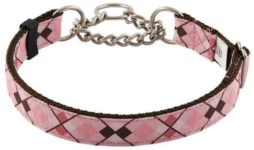 Country Brook Design Pink and Brown Argyle Half Check Grosgrain Ribbon Dog Collar - Large (Argyle Ribbon Grosgrain)