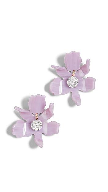 edbab6ea2 Lele Sadoughi Women's Small Crystal Lily Earrings, Lilac, Purple, One Size