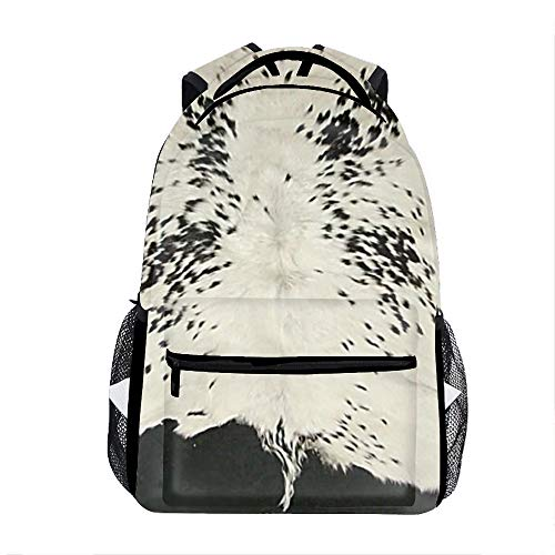 Faux Black And White Cowhide Backpack For School Shoulder Daypack Handbag]()