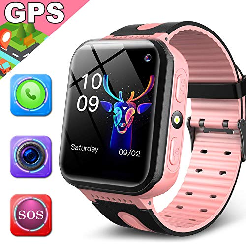 Kids Smart Watch Phone GPS Tracker for 3-14 Year Girls Boys Touch 2 Way Call Screen Fitness Tracker with Camera Anti-Lost SOS Game Electronic Learning Toy for Holiday Outdoor Birthday Gifts (Best Phone For 14 Year Old)