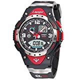 PASNEW Boys Watches, Waterproof Sports Analog Digital Dual Time Boys Wrist Watches 1018ad Red