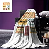 smallbeefly Movie Theater Throw Blanket A Set of Retro Cinema and Other Events Tickets for One Vintage Illustration Warm Microfiber All Season Blanket for Bed or Couch Multicolor