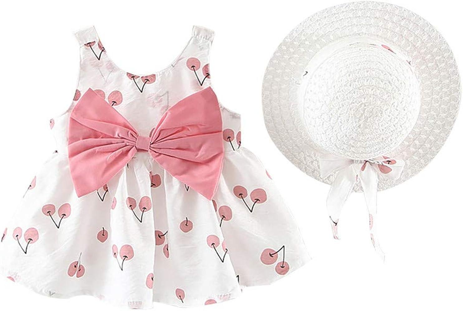 924fd74b33d1 Baiomawzh Ropa Bebe Niña Verano 2PC/Conjuntos-Mini Vestidos+Sombrero de  Paja, Falda Princesa sin Mangas con Estampado DE Cereza Cuello Redondo  Bowknot ...