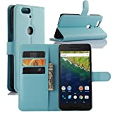 Nexus 6P Case, Premium Leather Wallet Case Cover with Stand Card Holder for Huawei Google Nexus 6P / 6 2nd Gen 2015 Phone (Wallet - Sky Blue)