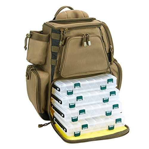 461dac1fca Piscifun Fishing Tackle Backpack Large Capacity Waterproof Fishing Tackle  Bag with 4 Tray Tackle Box and Protective Rain Cover Khaki