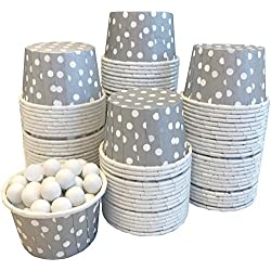 Candy Nut Mini Baking Paper Treat Cups - Silver with White Dots - Bulk 100 Pack