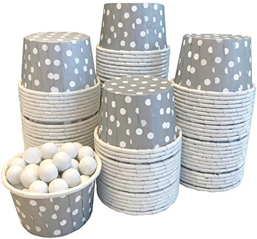 Candy Nut MINI Baking Paper Treat Cups - Silver with White Dots - Bulk 100 -