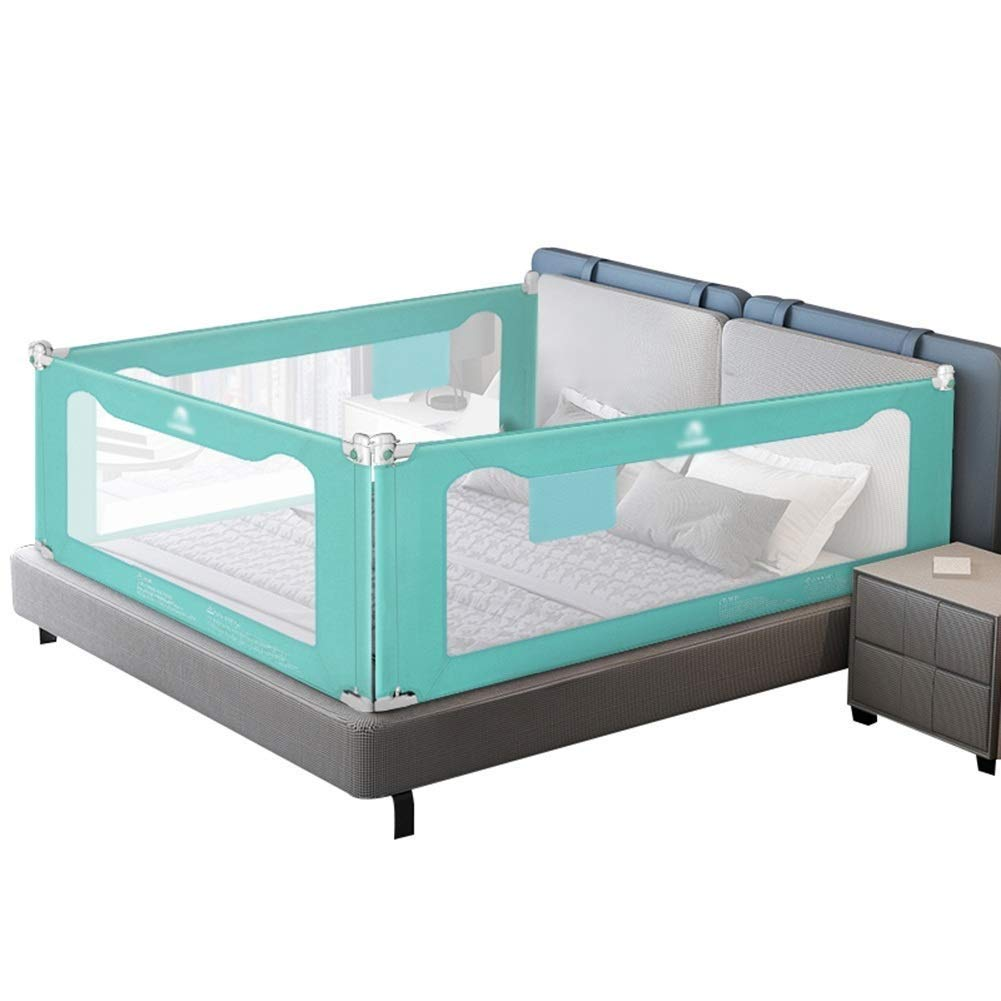 LIQICAI Set of 3 Sided Bed Rail for Toddlers Vertical Folding Safety Bed Guard Baby Bed Barrier Bed Bumper for Kids, 3 Colors (Color : Blue, Size : 1.5X2.0X2.0M)