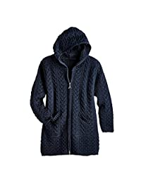 West End Knitwear Women's Brigid Hooded Aran Cardigan