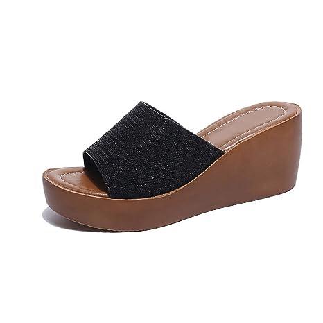 DCRYWRX Zapatillas De Plataforma Sandalias para Mujer Zapatillas Cuñas Antideslizantes Zapatillas Ligeras De Moda Zapatillas Sandalias