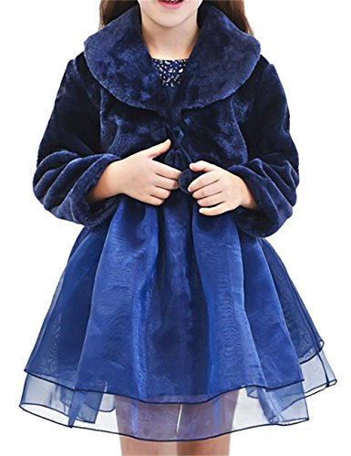 EnjoyBridal Little Girls Long Sleeve Faux Fur Bolero Jacket Coat Capes Winter (M(4-7Years), Navy Blue)