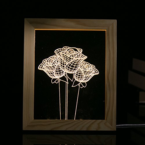 Yiping Brand New and 3D Photo Frame Light Rose,3D Photo Frame LED Night Light Wooden Rose Decorative USB Lamp by Yiping