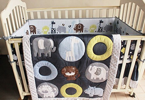 NAUGHTYBOSS Boy Baby Bedding Set Cotton 3D Embroidery Animals Elephants Lion Zoo Quilt Bumper Bedskirt Fitted 7 Pieces Dark Blue